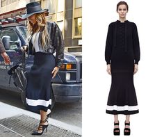 Beyonce looking gorgeous in her monochrome Victoria Beckham midi skirt