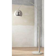 Basque Steel and Brushed Nickel Arc Floor Lamp - #P9457   Lamps Plus