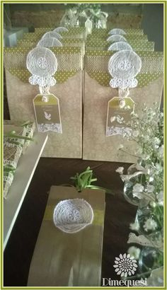 Pretty favor bags at a 1st communion party! See more party planning ideas at CatchMyParty.com!