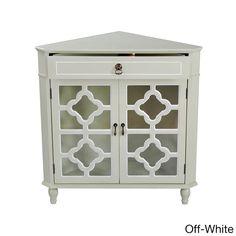 Heather Ann Heirloom Style One (1) Drawer Corner Accent Cabinet (Off-White), White