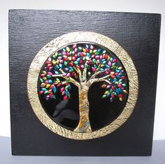 Tree of Life 6x6 polymer clay on wooden block