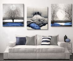 3 Panel Blue Lands Scenery Framed Modern Wall Canvas | Octo Treasures
