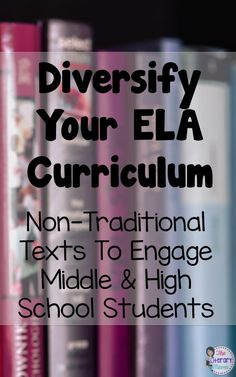 The Literary Maven: Diversify Your ELA Curriculum: Non-Traditional Texts to Engage Middle & High School Students - Bildung Middle School Reading, Middle School English, Middle School Novels, 9th Grade English, Middle School Literacy, English English, Ela Classroom, English Classroom, English Teachers