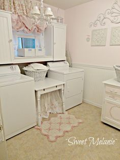 even i would enjoy doing laundry in a sweet room like this chic laundry room
