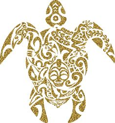 Gold Glitter Tribal Turtle by limitlezz