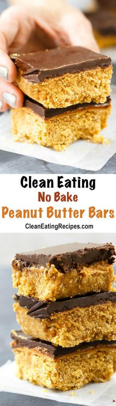 These no bake peanut butter bars are full of good ingredients, like dates, chickpeas/garbanzo beans, oats and natural sugars. I them to make this flourless dessert for my children, because they love them and I'm not worried about them eating unhealthy ingredients. {Clean Eating, Gluten-Free}