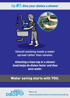 Water Saving Tips by chaitanya krishnan, via Behance Save Water Pictures, Save Water Poster Drawing, Save Our Water, Water Saving Tips, Water Wise, Water Conservation, Shower Heads, School Projects, Save Energy
