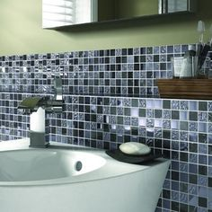 Wickes Black Gloss Stone Mix Mosiac Tile Sheet 300x300mm