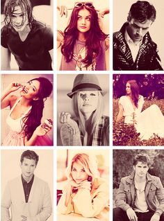 Tyler Blackburn Lucy Hale Ian Harding Shay Mitchell Sasha Pieterse Troian Belissario Drew Van Acker Ashley Benson Keegan Allen - Pretty Little Liars Cast Hanna Marin, Best Tv Shows, Best Shows Ever, Favorite Tv Shows, Spencer Hastings, Gossip Girl, Pretty Little Liars Actrices, Glee, Drew Van Acker