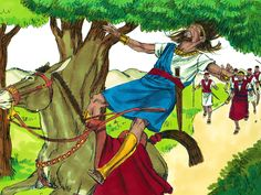 The battle raged throughout the forest and 20,000 men were killed. During the battle Absalom came across some of David's troops and fled on a mule. As the mule went beneath the thick boughs of a great oak tree, Absalom's hair got caught in the branches. His mule went on, leaving him dangling in the air. One of David's men saw him and told Joab. – Slide 19