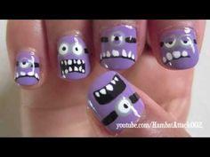 Evil Purple Minions Nails