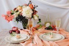 peach and plum wedding inspiration |  Annabella Charles Photography Haute Horticulture flowers Everbloom Designs styling