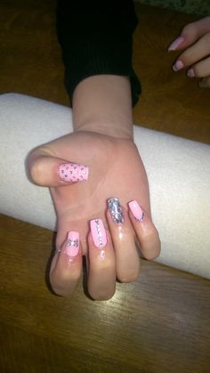 pink gel and silver glitter