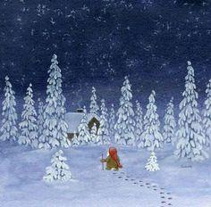 Eva Melhuish - Freelance Illustrator - Frosty Night (Artwork for Sale) Christmas Tale, Swedish Christmas, Christmas Gnome, Winter Illustration, Christmas Illustration, Christmas Clipart, Vintage Christmas Cards, Christmas Printables, Pagan Yule