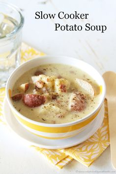 Slow Cooker Potato Soup is quick and easy for cold weather days by www.whatscookingwithruthie.com