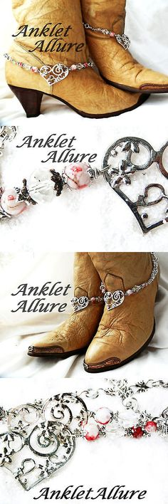 Anklets 110634: Heart Boot Chains Marble Red Boot Jewerly Boot Bracelets Anklet Body Jewelry BUY IT NOW ONLY: $36.5