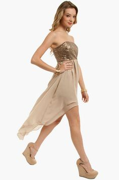 Bridesmaid dresses--something with sparkle <3. Glimmer Strapless Dress $64 at www.tobi.com