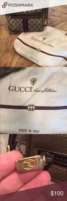 Vintage Gucci crossbody handbag Made In Italy. Vintage Gucci Accessory Collection crossbody. Straps show wear and inside has marks and one small hole in liner shown in picture. Actual bag outer in good condition. Serial number shown. Dust bag included. Ask questions please. It is a vintage bag so expect wear. Lots of life left though. Gucci Bags Crossbody Bags
