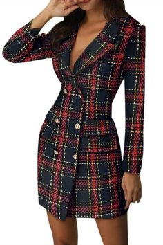 Sexy Plaid Double-Breasted Pocket Suit Blazer Dress Women Casual Plus Size Long Sleeve Elegan Slim Office Bodycon Party Dress