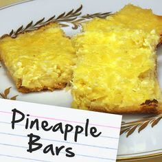 Recipes for Diabetes: Pineapple Bars. Only 7g. of carbs each! :) Diabetic Deserts, Diabetic Food Recipes, Diabetes Recipes, Heart Healthy Recipes, Diabetes Facts, Pineapple Recipes Healthy, Healthy Desserts, Diabetic Sweets, Diet Recipes
