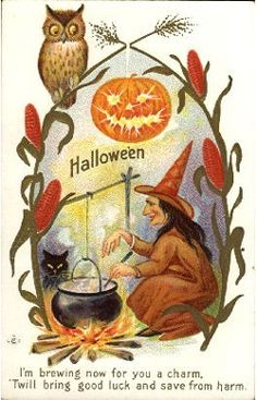 I'm brewing now for you a charm... #vintage #witches #Halloween #cards