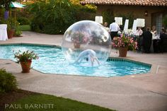 bubble dancer in the pool
