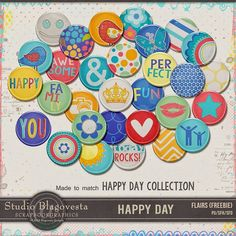 Quality DigiScrap Freebies: Happy Day flair freebie from Studio Blagovesta
