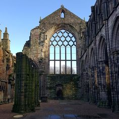 Poignant remains of Holyrood Abbey at Holyroodhouse Palace. The Royal residence of HM Queen Elizabeth II in Scotland Visit Britain, Royal Residence, Exeter, Queen Elizabeth Ii, Lake District, Edinburgh, Big Ben, Palace, Scotland