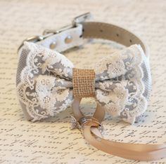 Gray Dog Bow Tie Lace and Burlap Dog ring bearer by LADogStore