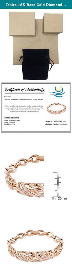 D'sire 18K Rose Gold Diamond (TDW 1.143 carats) Bracelet. This fine bracelet showcases an abstract link design set with glistening 1.143 carat round cut white diamonds. A highly polished finish completes the look of this 18-karat Rose gold overlay bracelet, which secures with a clasp. All carat weights and measurements are approximate and may vary slightly from the listed dimensions.