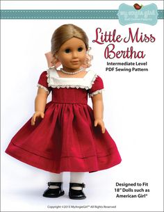 Pixie Faire My Angie Girl Little Miss Bertha Dress Doll Clothes Pattern for 18 inch American Girl Dolls - PDF de PixieFairePatterns en Etsy https://www.etsy.com/mx/listing/226754209/pixie-faire-my-angie-girl-little-miss