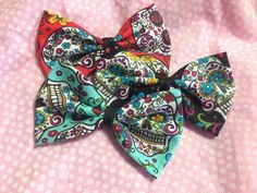 Day of the Dead Sugar Skull Set of 3 Fabric Hair Bows