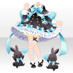(Tops) Black Rabbit Ribbon Poncho One-Piece ver. Chibi, Fashion Design Drawings, Fashion Sketches, Anime Outfits, Cute Outfits, Drawing Anime Clothes, Kawaii Clothes, Kawaii Dress, Anime Dress