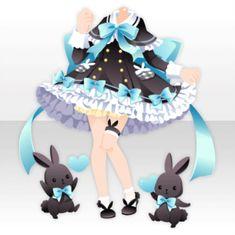 (Tops) Black Rabbit Ribbon Poncho One-Piece ver.A black.jpg