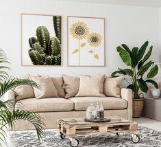 Skandiboho urbaani sisustus. Vihersisustus. Kukkajuliste Safari, Couch, Throw Pillows, Bed, Shop, Furniture, Home Decor, Cactus, Settee