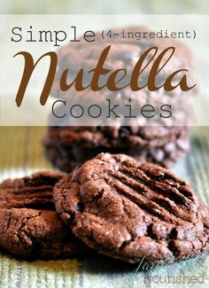 Wow! These 3 (or 4) ingredient Nutella Cookies are delicious...and so simple to make. You can also make them gluten free.