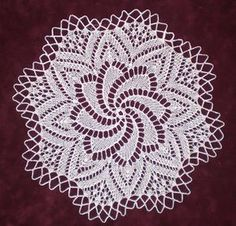 "European Knitted Lace Doily, 11"" diameter, 100% fine white cotton, handmade by KnittySchmitty."