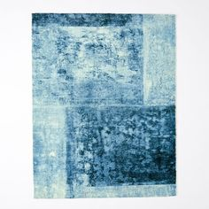 Distressed Rococo Wool Rug, Blue Lagoon, 9'x12'