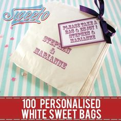 100 Personalised White Paper Sweet Bags +Ribbon +Tag Wedding Favour Buffet Candy | eBay