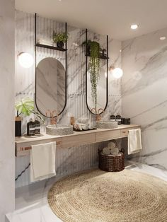 If you have a small bathroom in your home, don't be confuse to change to make it look larger. Not only small bathroom, but also the largest bathrooms have their problems and design flaws. Beautiful Bathrooms, Modern Bathroom, Small Bathroom, Bathroom Ideas, Stone Bathroom, Bathroom Inspo, Bathroom Rugs, Marble Interior, Bathroom Interior Design