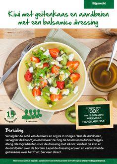 Recept voor salade van kiwi met geitenkaas en aardbeien met een balsamico dressing #Lidl