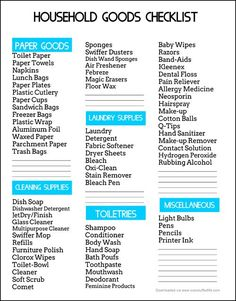 Free downloadable printable—a checklist to help you keep track of your household goods. Includes paper goods, cleaning supplies, laundry supplies, toiletries, and miscellaneous categories. #overstuffedlife