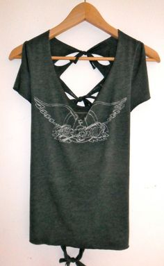 Dark Green UpCycled Aerosmith Tee womens size small by peaceissexy