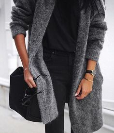 perfect grey jacket + black outfit