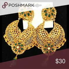 Earrings Gold Plated Earrings with Green Stones.  Light weight wear for casual and party. Authentic Indian style. Jewelry Earrings