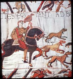 Detail of the Bayeaux Tapestry Bayeux Tapestry, Medieval Tapestry, Medieval Art, Anglo Saxon Kings, Norman Knight, Ottonian, Romanesque Art, Medieval Costume, Textiles