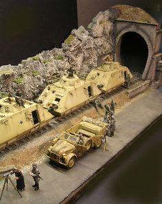 German armoured train. Panzertriebwagen-Zug, Balkan 1944. 1/35 scale. By: Andreas Coenen. #scale_model #diorama #WW2