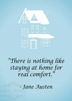 Home quote by Jane Austen in blue white black