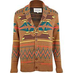Brown pattern knit cardigan - cardigans - knitwear - men