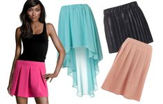 Inverted triangle. If you have broad shoulders then go for skirts that bring the eye downwards and add volume too. That means pleats, bright colours and interesting textures!  We love these skirts for cornet shaped gals: 1. Hot pink mini skirt, H&M  2. Blue, Topshop 3. Black, Vero Moda  4. Powdered pink skirt, Dorothy Perkins
